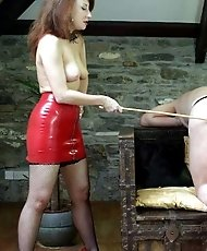 Domme caining her girlfriend