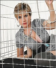 Cuffed caged and fingering mature