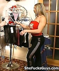 Blonde Chick Uses A Strapon