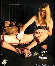 Slave tied on bench