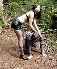 Domme riding a male slave hard